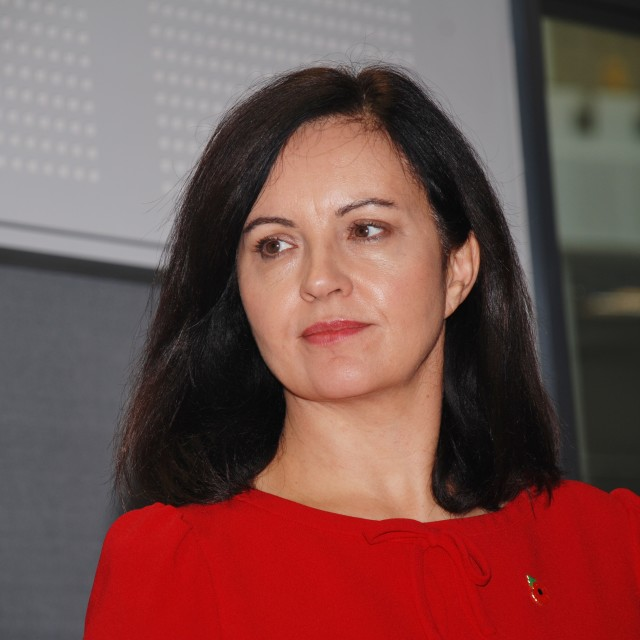 """""""Caroline Flint policy announcement, Hastings"""" stock image"""
