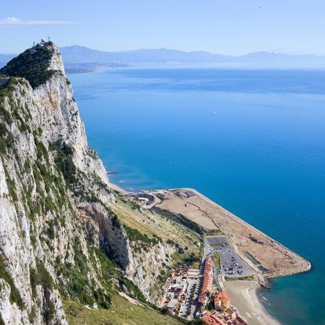 """Gibraltar Rock by the Mediterranean Sea"" stock image"