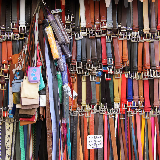 """Belts for sale"" stock image"