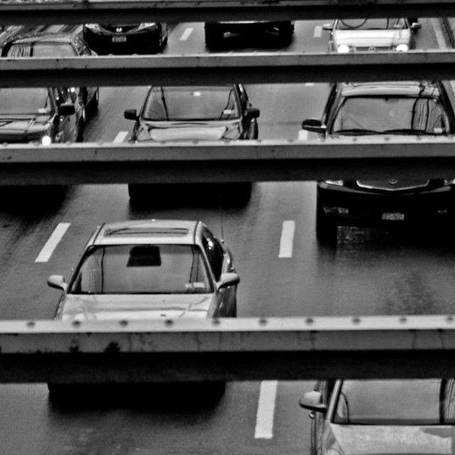 """Brooklyn Bridge Traffic"" stock image"