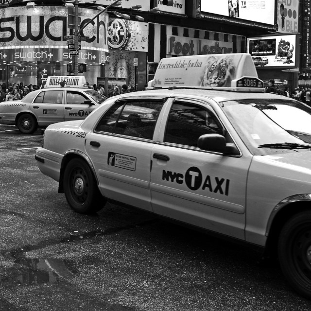 """Taxi on Broadway"" stock image"