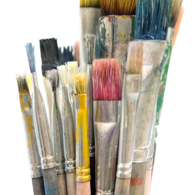 """Dirty Paintbrushes"" stock image"