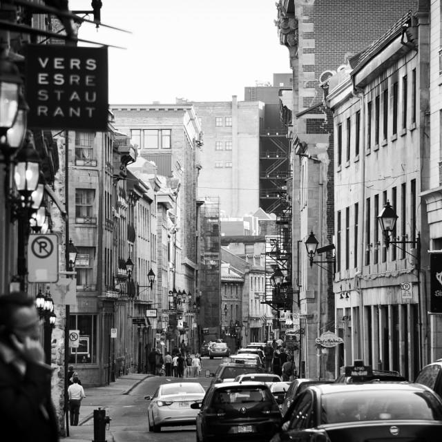 """""""Vieux Port de Montrèal - Rue St Paul"""" stock image"""