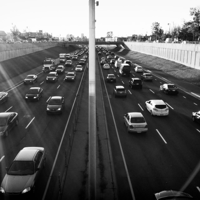 """Morning Rush on the Decarie Expressway"" stock image"