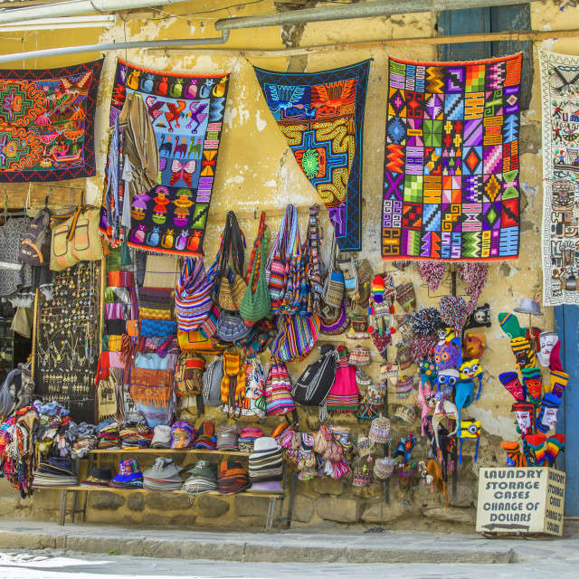 """Colorful textile for sale in Peru"" stock image"