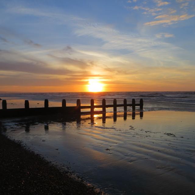"""""""November sunrise on Shoreham beach"""" stock image"""