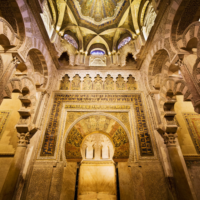 """Mihrab and Ceiling of Mezquita in Cordoba"" stock image"