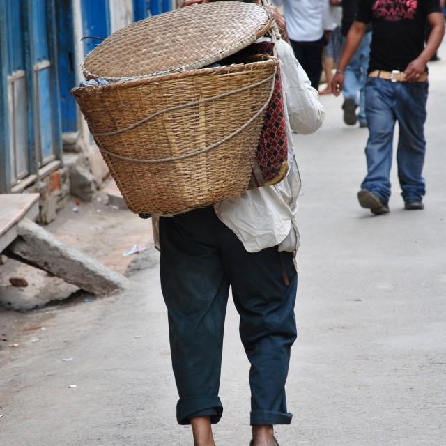 """Carrier in Kathmandu"" stock image"