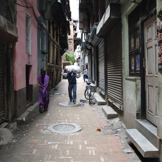 """Streetlife Kathmandu"" stock image"