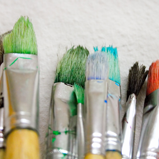 """Bunch of Paintbrushes Close-Up"" stock image"