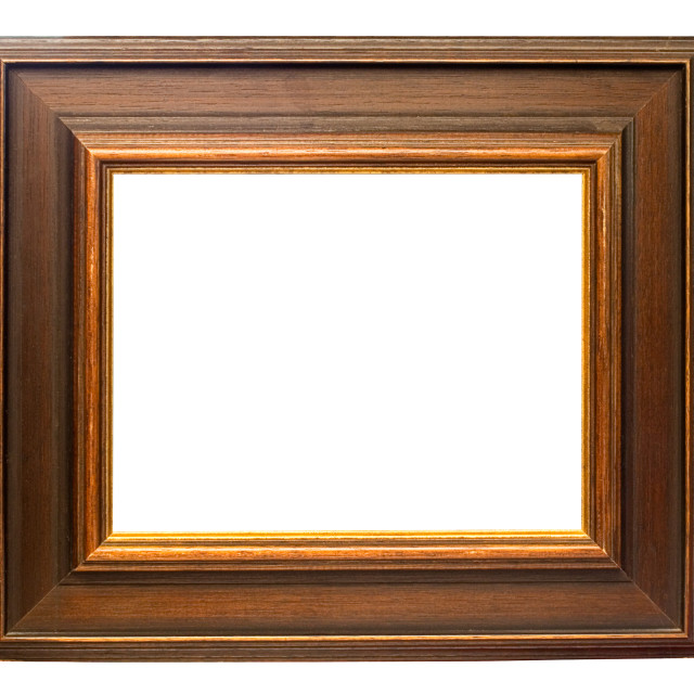 """Dark Wooden Picture Frame with Clipping Path"" stock image"