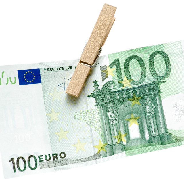 """Drying Green Euro Bill"" stock image"