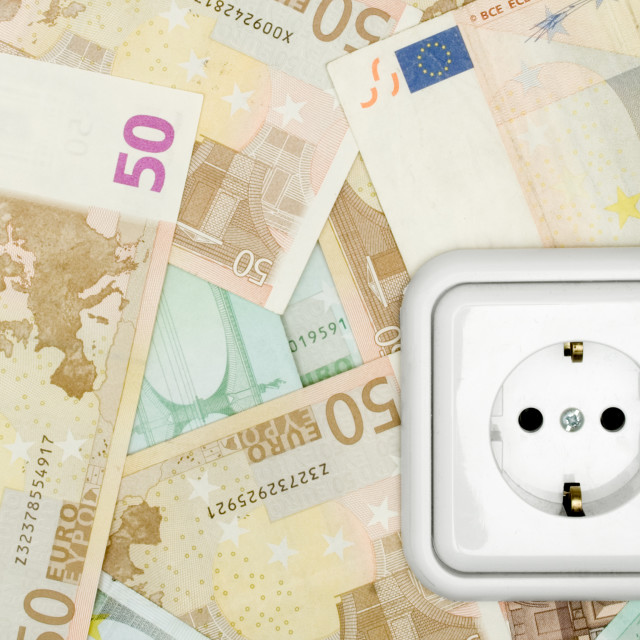 """Banknotes and Power Socket"" stock image"
