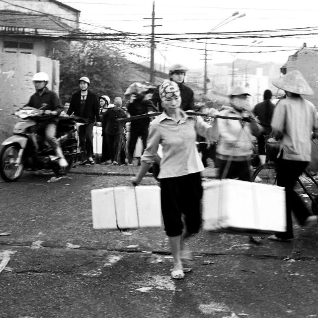 """""""Woman in Long Bien market"""" stock image"""