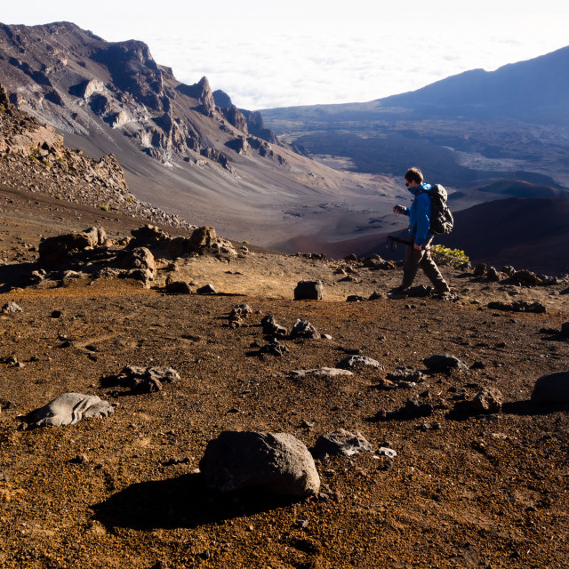 """Morning hiking in Haleakala"" stock image"