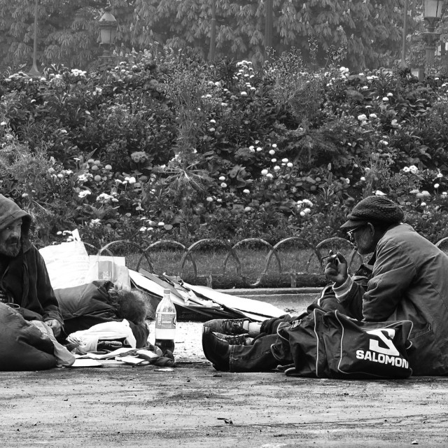 """Homeless on the Avenue des Champs-Élysées"" stock image"