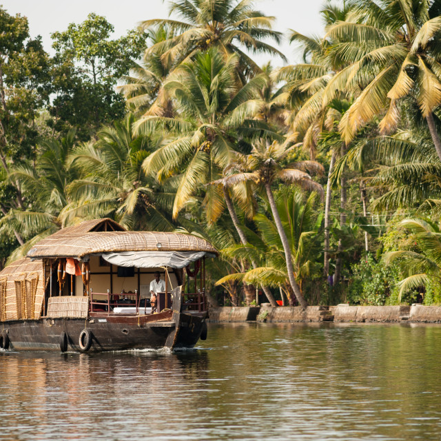 """Houseboat on Kerala backwaters, India"" stock image"