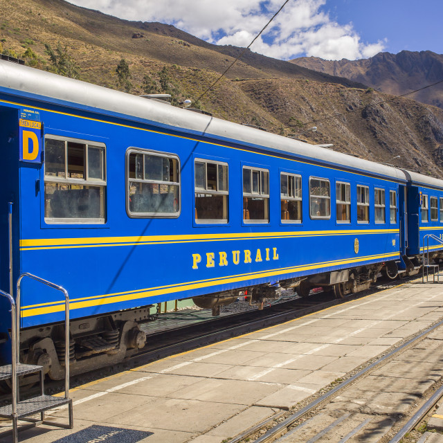 """Blue train in trainstation in Peru"" stock image"