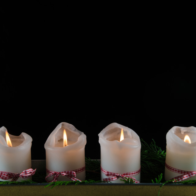 """Four decorated advent candles"" stock image"