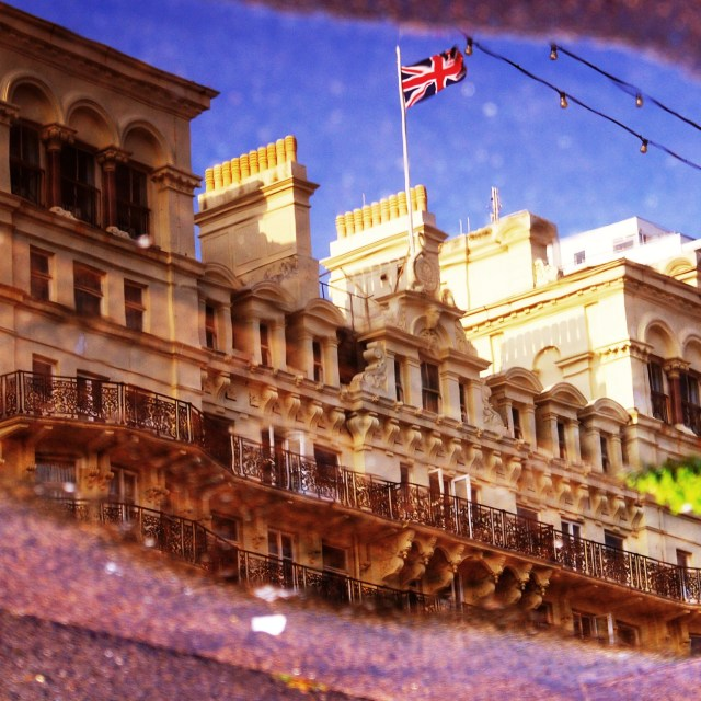 """Reflection of the Grand Hotel, Brighton"" stock image"