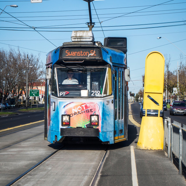 """Melbourne Australia -- Blue Tram from St. Kilda to Swanston St."" stock image"