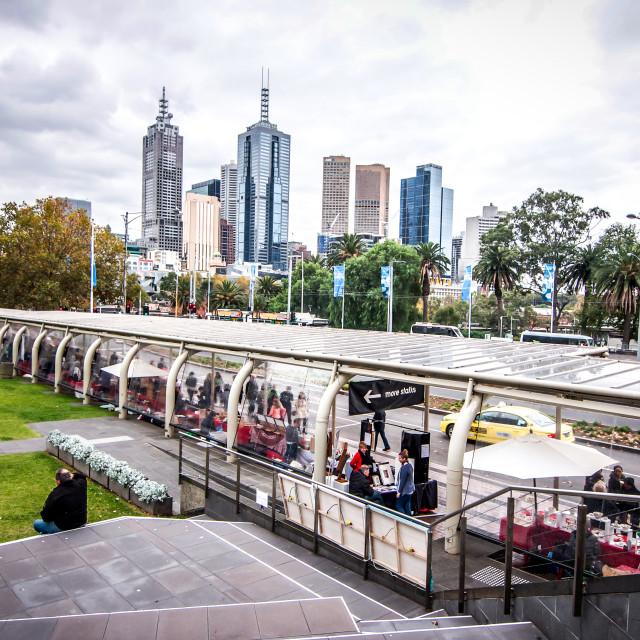 """Sunday Market At Melbourne Arts Centre"" stock image"