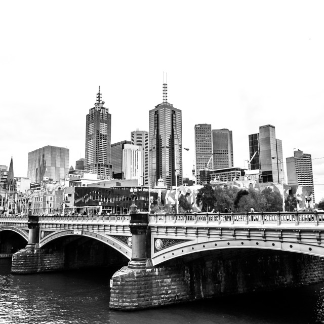 """Melbourne Across the Yarra River in B&W"" stock image"