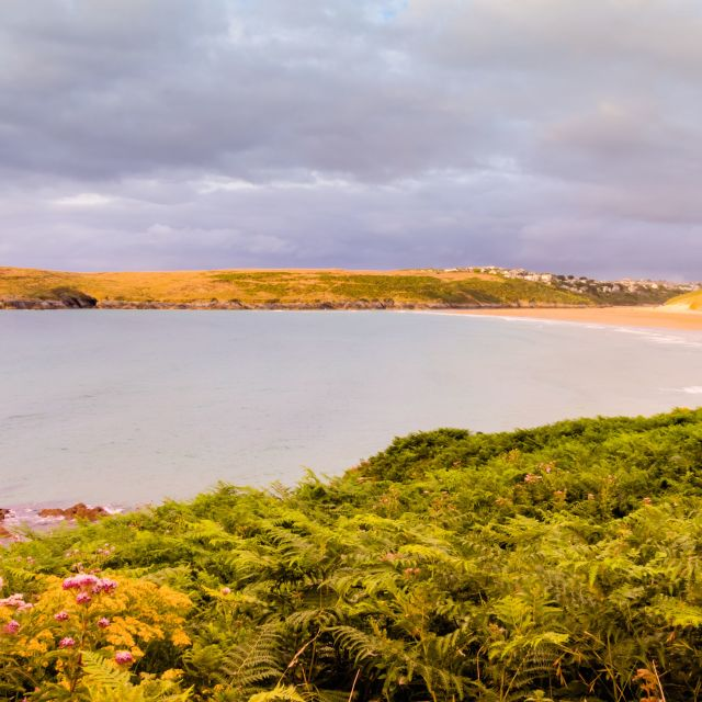"""Crantock view"" stock image"