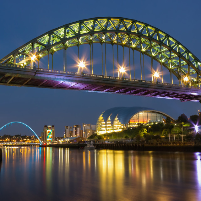 """Tyne Bridge at Night"" stock image"