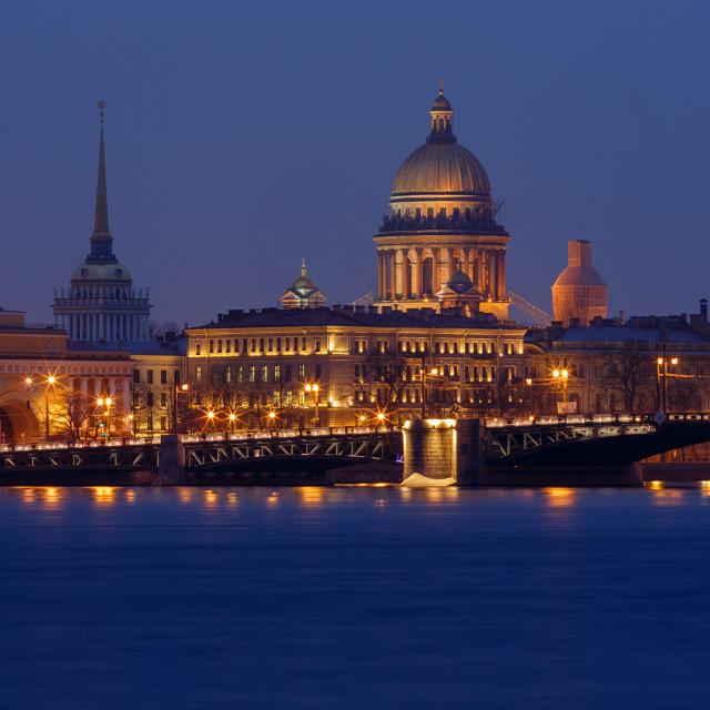"""Sankt Petersburg most important landmarks by Night"" stock image"
