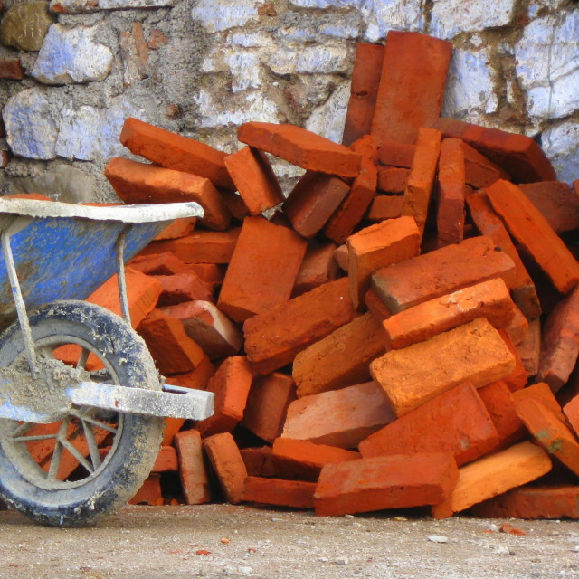 """A barrow load of bricks!"" stock image"