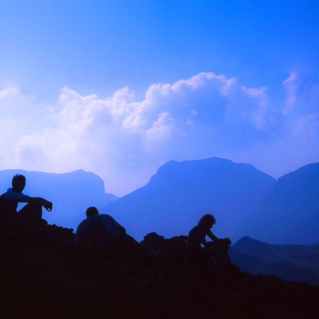 """Mountain silhouettes"" stock image"