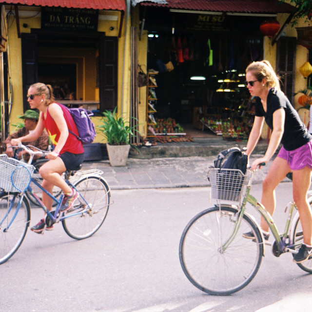 """""""Tourists in Hoi An"""" stock image"""