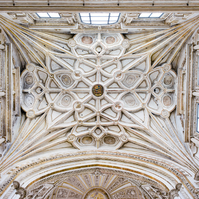 """Ribbed Vault Ceiling of the Mezquita Cathedral"" stock image"
