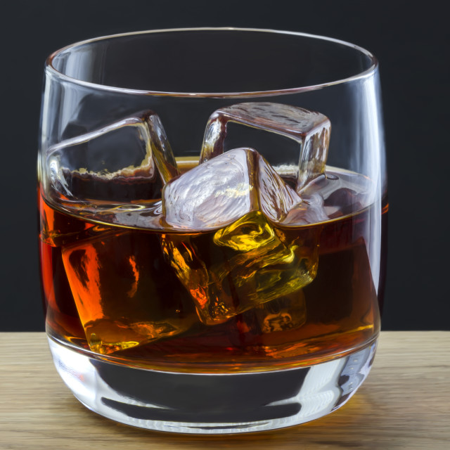 """Whiskey on the rocks"" stock image"