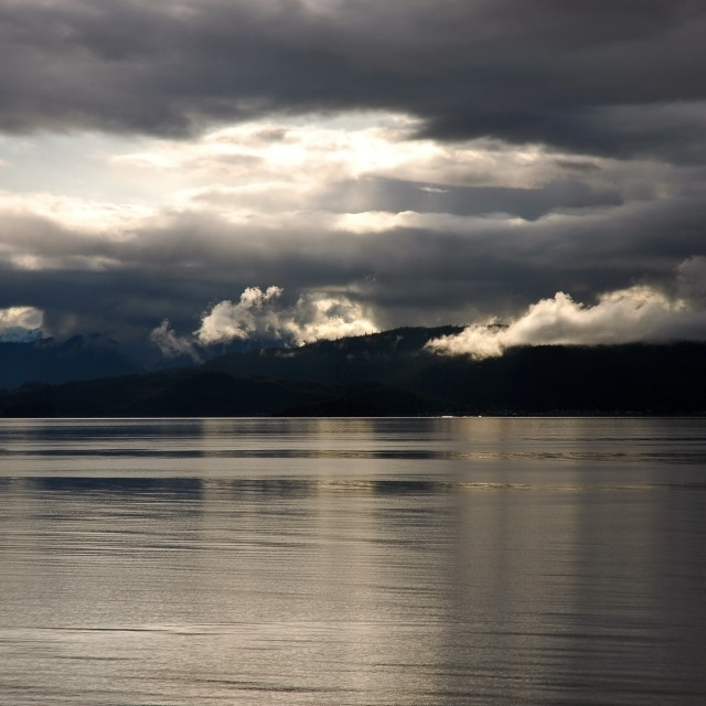 """Sunset on Queen Charlotte Islands"" stock image"