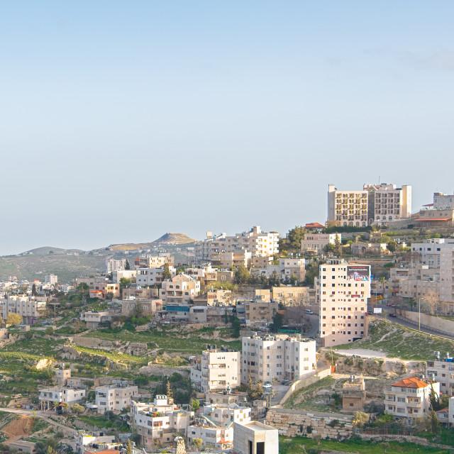 """Early light at Mt. Herodian, Bethlehem, West Bank, Palestine, Israel"" stock image"