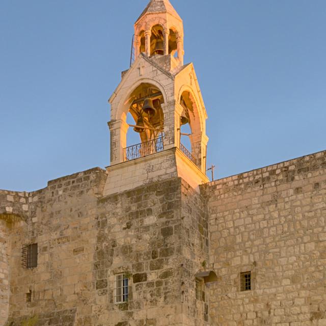 """Holy Church of the Nativity Bell Tower, Bethlehem, Israel"" stock image"