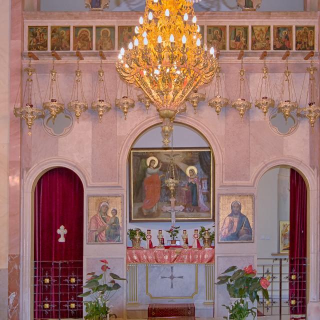 """Greek Catholic Church (Melkites) of Nazareth, Israel"" stock image"