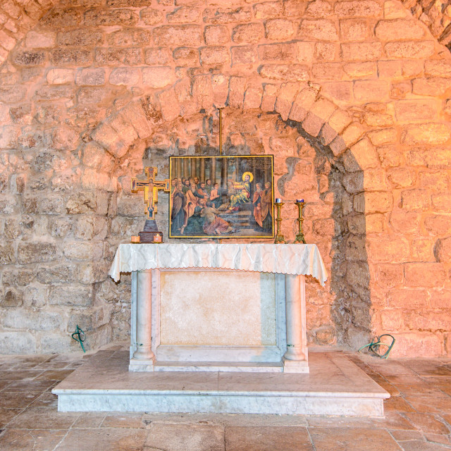 """Synagogue Church Altar, Nazareth, Israel"" stock image"