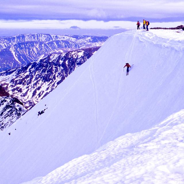 """""""Skiing on Helvellyn"""" stock image"""