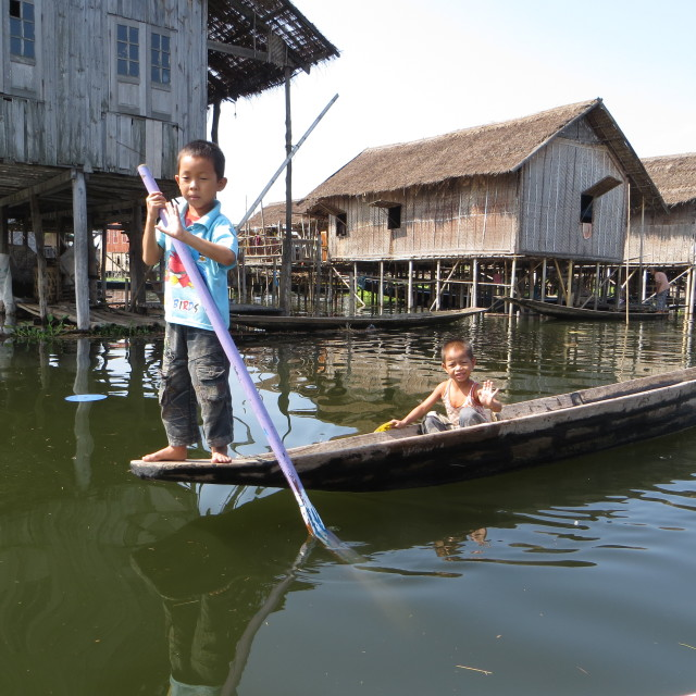 """Inle Lake boys, Burma/Myanmar"" stock image"