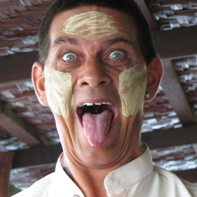"""""""Thanaka face paint at Inle Lake"""" stock image"""