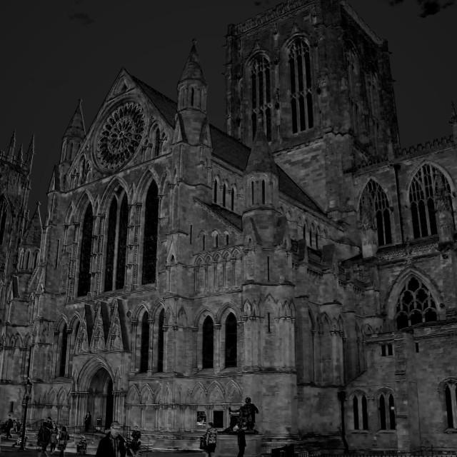 """York Minster at night"" stock image"