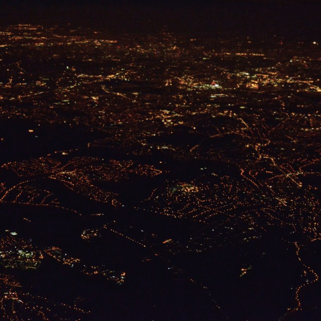 """""""London from the air, at night 1"""" stock image"""