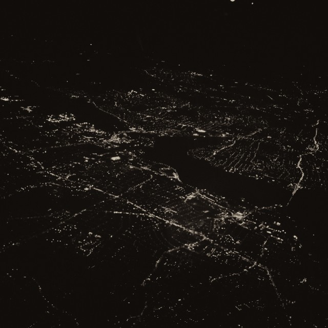 """""""London from the air, at night 3"""" stock image"""