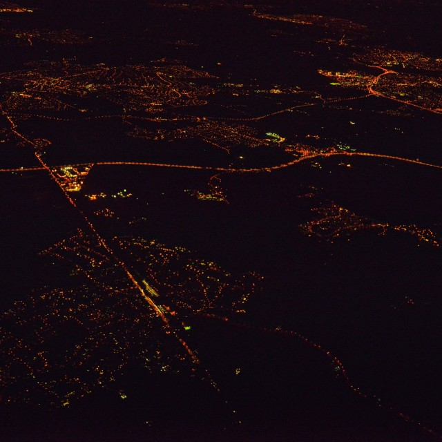 """""""London from the air, at night 2"""" stock image"""