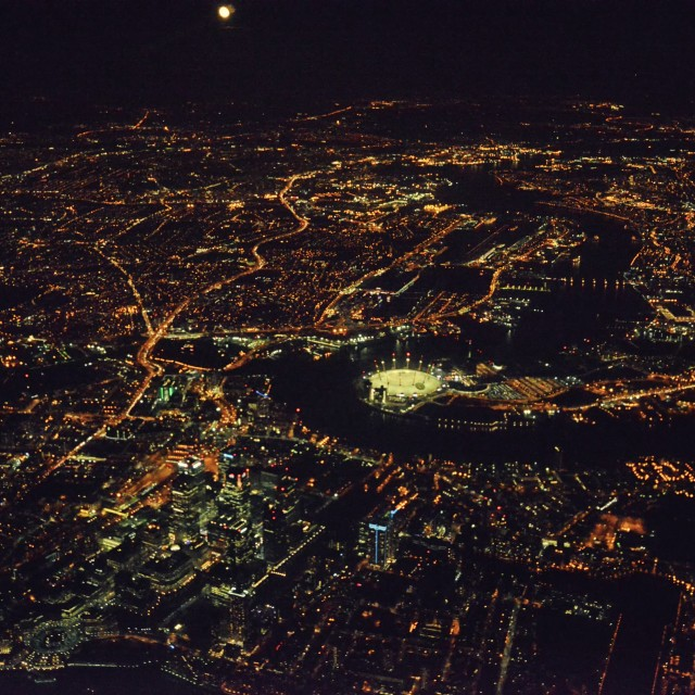 """""""London from the air, at night 5"""" stock image"""