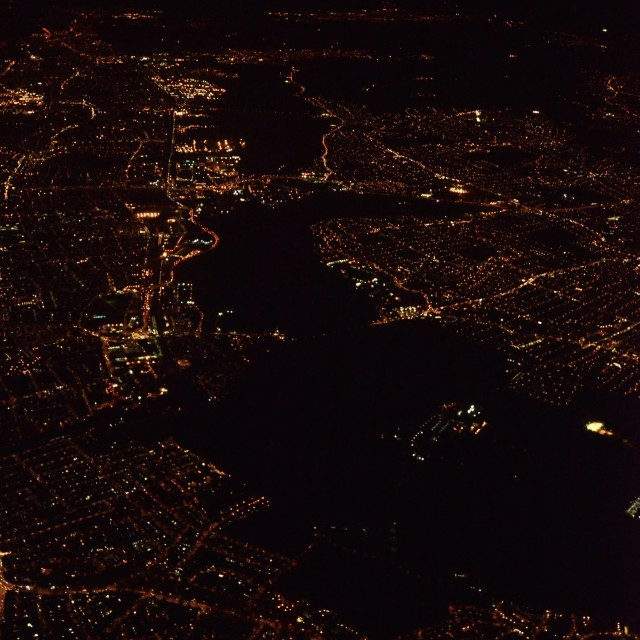 """""""London from the air, at night 4"""" stock image"""