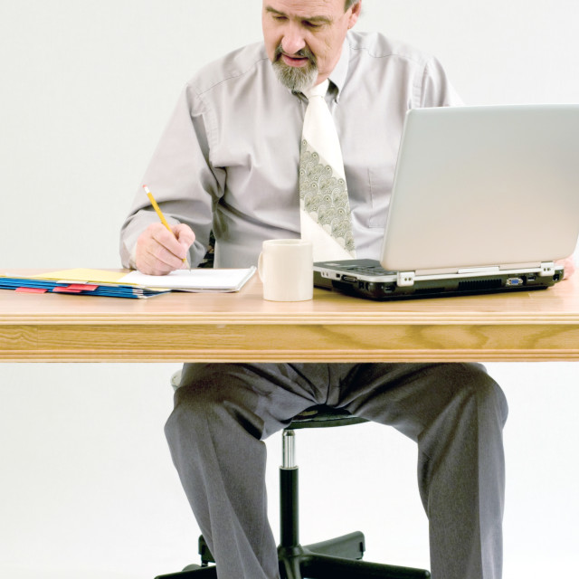 """Businessman Taking Notes From A Computer Search"" stock image"